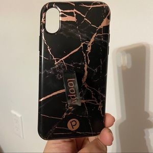 Black Rose Gold Marble Loopy Case IPhone X